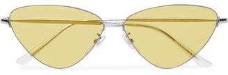 Triangle-Frame Silver-Tone Logo-Print Sunglasses