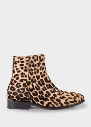 Paul Smith Women's Beige Leopard Print 'Brooklyn' Leather Boots