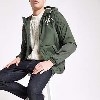 River Island Jack and Jones khaki hooded parka jacket