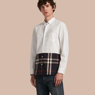 Burberry Check Panel Stretch-Cotton Poplin Shirt $295 thestylecure.com