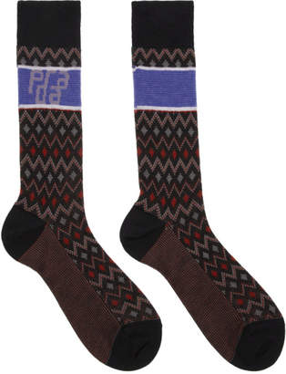 Prada Black Wool Chevron Socks
