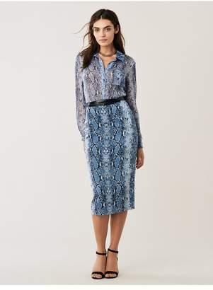Diane von Furstenberg Lorelei Sheer Silk Chiffon Collared Shirt