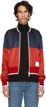 Thom Browne Navy and Red Ripstop Bomber Jacket