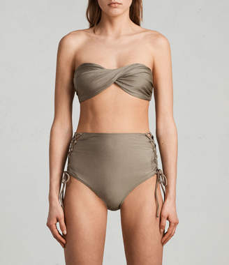 AllSaints Lazo Metallic Bikini Top