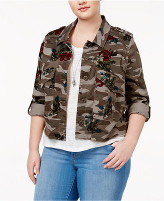 American Rag Plus Size Cropped Camo Floral-Print Jacket, Only at Macy's $79.50 thestylecure.com