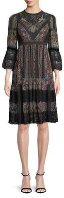 Etro Long-Sleeve Printed Peasant Dress w/ Lace Trim