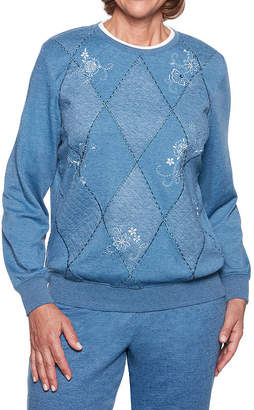 Alfred Dunner At Ease Long Sleeve Sweatshirt