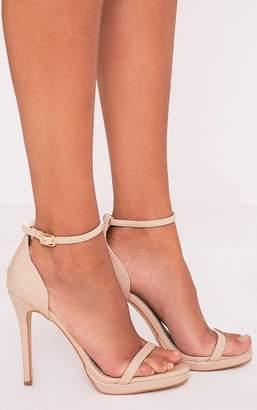 PrettyLittleThing Enna Nude Single Strap Heeled Sandals
