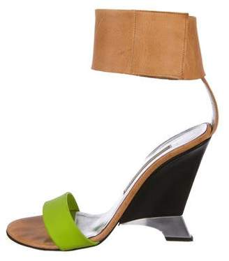 Diane von Furstenberg Leather Ankle-Strap Wedges