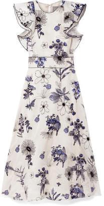 Lela Rose Ruffled Embroidered Silk-organza Midi Dress - Ivory