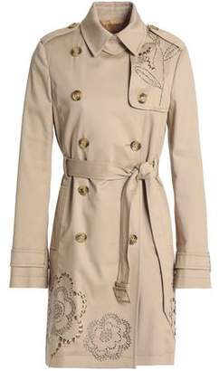 RED Valentino Double-breasted Studded Cotton-gabardine Trench Coat