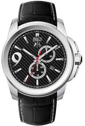 Jivago Gliese Mens All Black Leather Strap Watch
