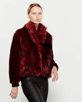 SOSKEN Oxblood Gisela Short Faux Fur Jacket
