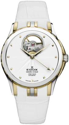 Edox Watches Women's Grand Ocean Open Vision Swiss Automatic Watch, 33mm