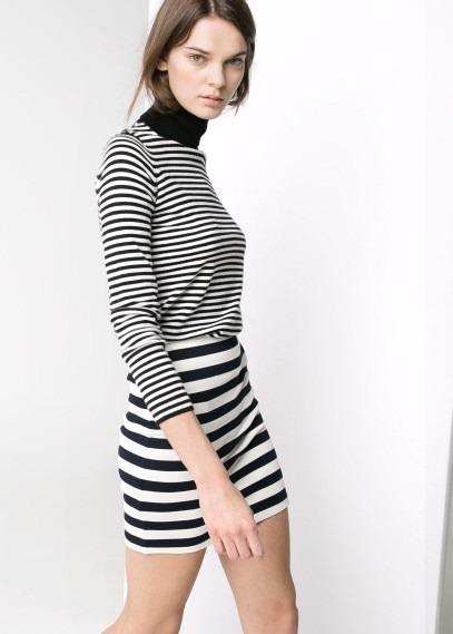 MANGO Striped Jersey Skirt