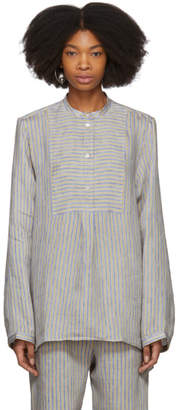 Acne Studios Beige and Blue Striped Lysanne Sketch Blouse