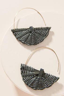 Anthropologie Tacy Wicker Crescent Hoop Earrings