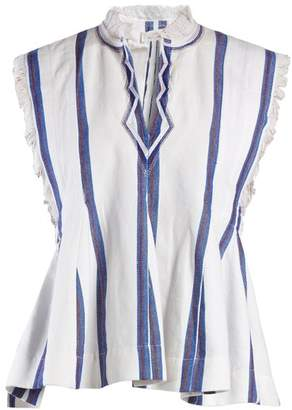 Etoile Isabel Marant Drappy Sleeveless Striped Top - Womens - Blue Stripe