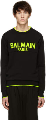Balmain Black and Yellow Logo Sweater