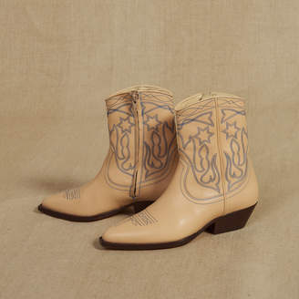 Sandro Embroidered leather cowboy boots