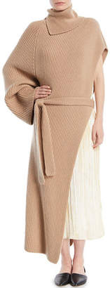 Rosetta Getty Turtleneck One-Sleeve Chunky Rib Cashmere Wrap Tunic