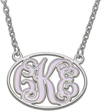 FINE JEWELRY Personalized Sterling Silver Enamel Oval Monogram Pendant Necklace