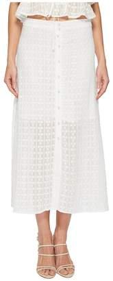 J.o.a. Button Front Flared Midi Skirt Women's Skirt