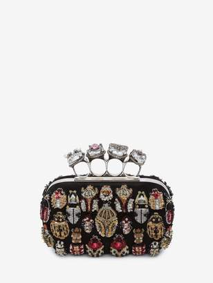 Alexander McQueen Silver Bug Embroidered Four-Ring Box Clutch