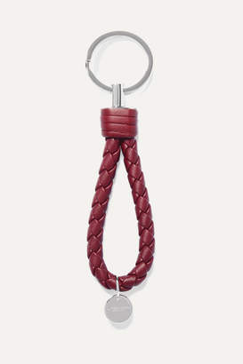 Bottega Veneta Intrecciato Leather Keychain - Burgundy
