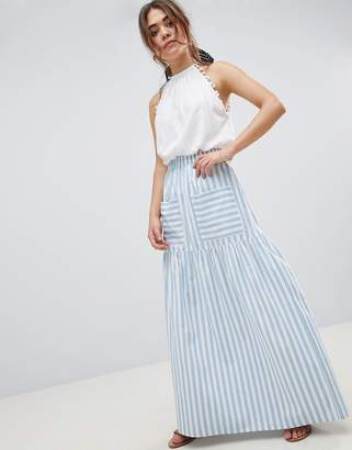 Asos Design DESIGN cotton maxi skirt with pockets in stripe