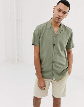 Pull&Bear Join Life Shirt With Revere Collar In Khaki