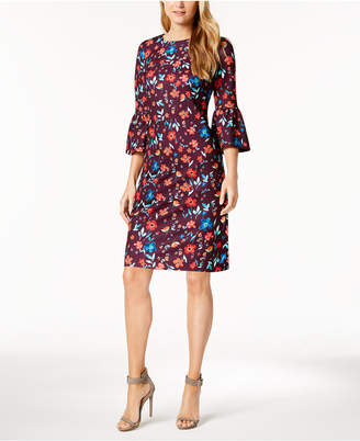 Calvin Klein Printed Bell-Sleeve Sheath Dress, Regular & Petite