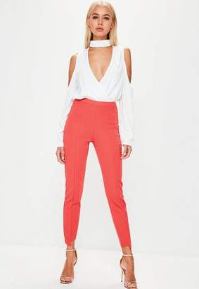 Missguided Orange Step Hem Skinny Trousers, Pink