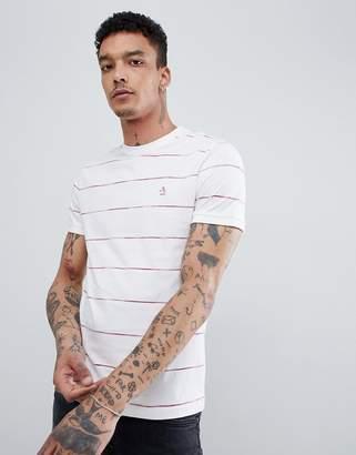 Original Penguin Space Dye Stripe T-Shirt Slim Fit Embroidered Logo in White