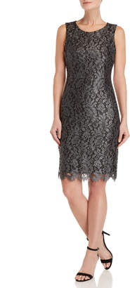 Tommy Hilfiger Silver Coated Lace Dress