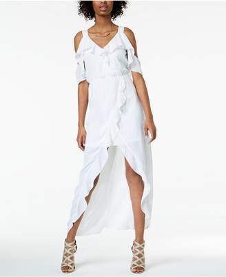 XOXO Juniors' Ruffled Cold-Shoulder High-Low Maxi Dress