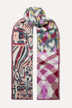 Missoni Patchwork Intarsia Knitted Scarf - Purple
