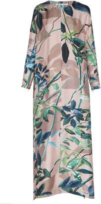 Agnona Shadow Botanical Printed Silk Twill Kaftan Dress