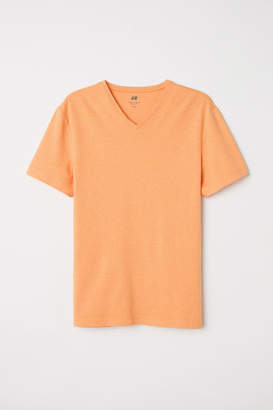 H&M V-neck T-shirt Slim fit - Orange