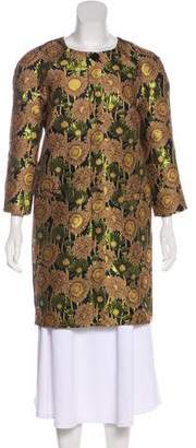 Clements Ribeiro Metallic Floral Print Coat