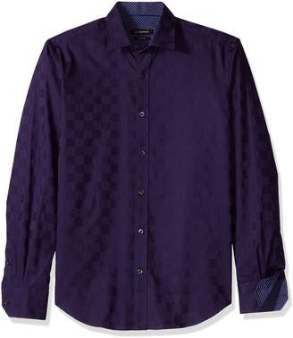 Bugatchi Men's Tappered Fit Long Sleeve Button Down Woven Shirt