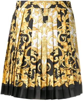 Versace baroque print pleated mini skirt