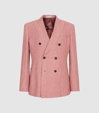 Reiss Mellowed - Linen Double Breasted Blazer in Pink