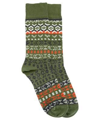 Birkenstock Patterned Wool Socks Colour: Bronze Green, Size: 39-41