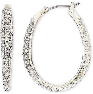 JCPenney MONET JEWELRY Monet Silver-Tone Crystal Oval Hoop Earrings