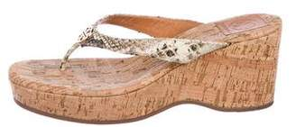 Tory Burch Embossed Thong Wedges