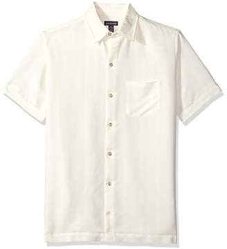 Van Heusen Men's Poly Rayon Short Sleeve Button Down Shirt