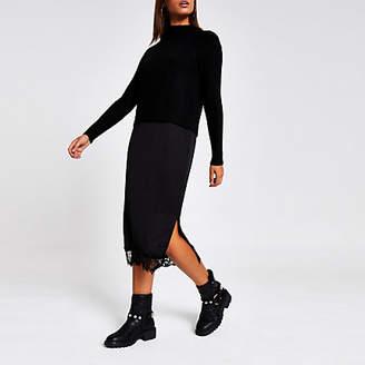 River Island Black midi satin lace trim jumper dress