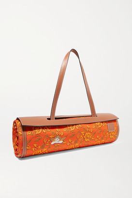 Loewe Paula's Ibiza Leather-trimmed Bamboo And Printed Canvas Beach Mat - Orange