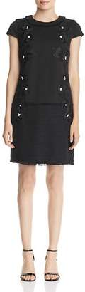 Karl Lagerfeld Paris Embellished Tweed-Hem Dress